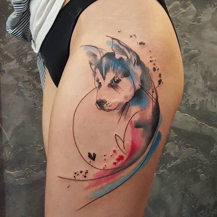 Watercolor dog tattoo
