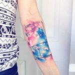 Watercolor golden ratio tattoo