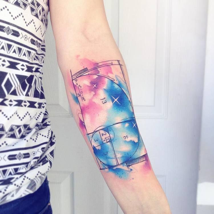 Watercolor golden ratio tattoo