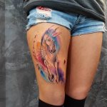 Watercolor horse tattoo