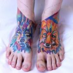 Watercolor wolf and fox tattoos