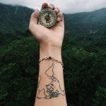 World map tattoo on the wrist