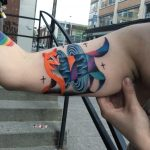 Abstract colorful fox tattoo