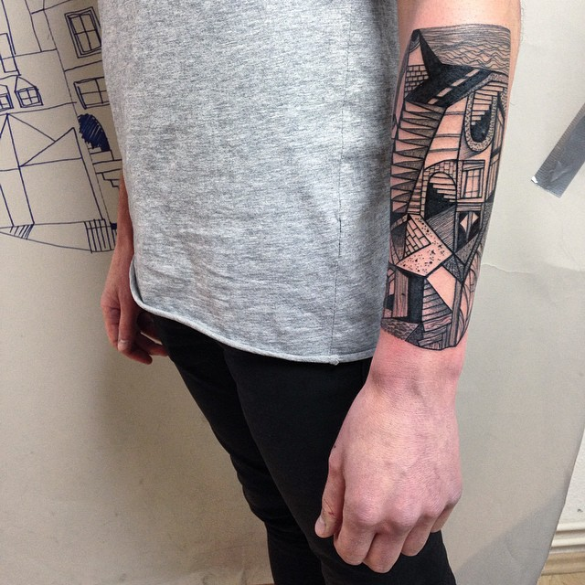 Abstract cubism style tattoo