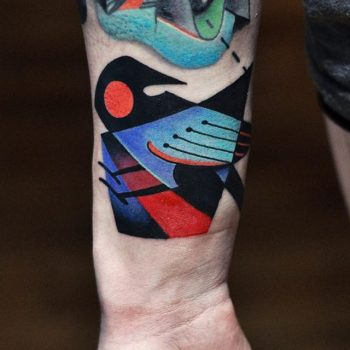 Abstract magpie tattoo