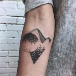 Abstract modern forest and mountain tattoo
