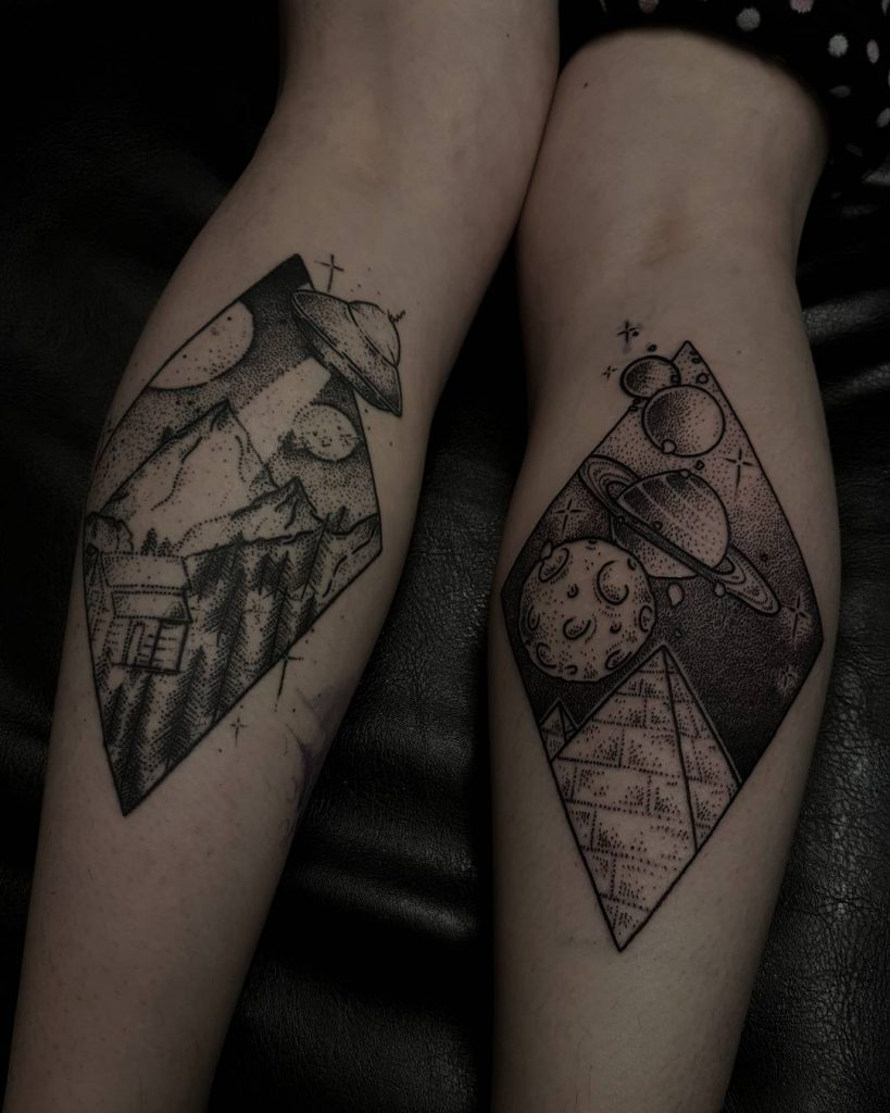 Alien abduction and planet landscape tattoos