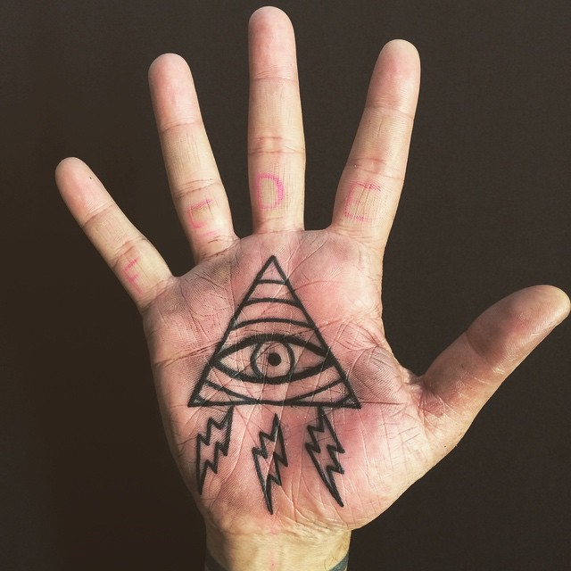 All seing eye tattoo on the palm