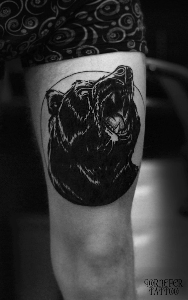 Angry black bear tattoo