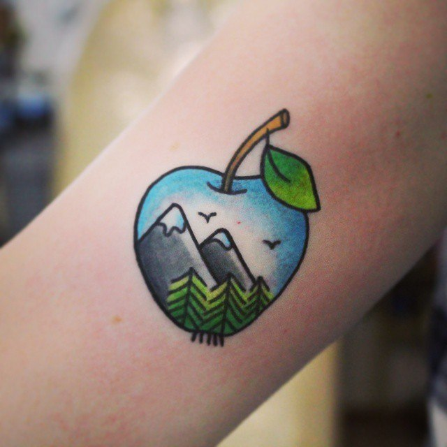 Apple landscape tattoo