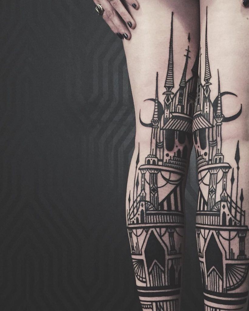 Architectural tattoo on both legs