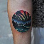 Aurora borealis scenery tattoo