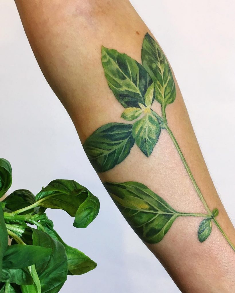 Basil leaf tattoo