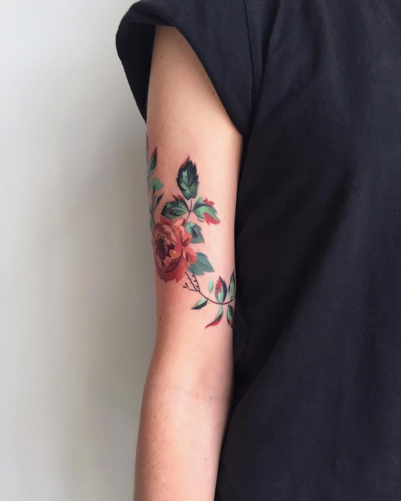 Beautiful and simple flower on the arm