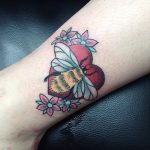 Bee and heart tattoo