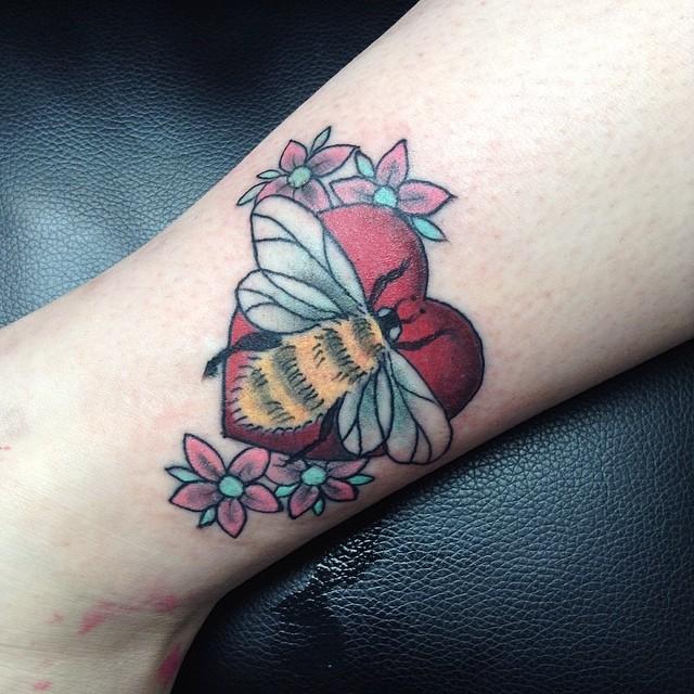 Bee and heart tattoo