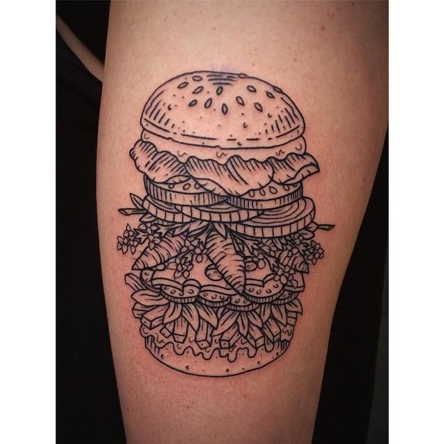 Black and grey hamburger tattoo