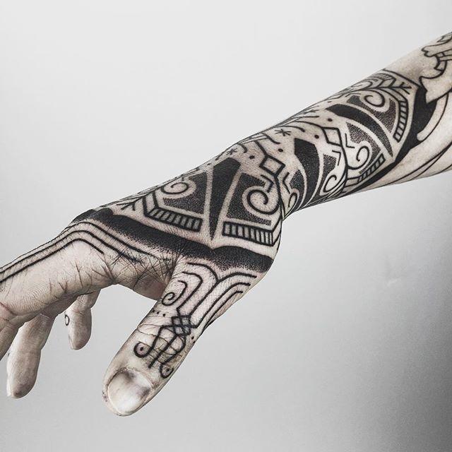 Black ornamental tattoo