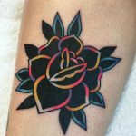 Black rose with colorful lines