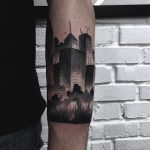 Blackwork city tattoo