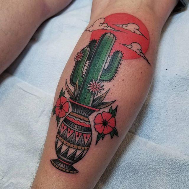 Cactus in a pot tattoo
