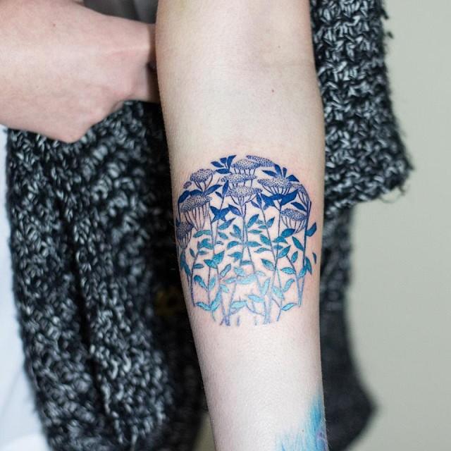 fe5963a36 Circular blue floral pattern tattoo - Tattoogrid.net