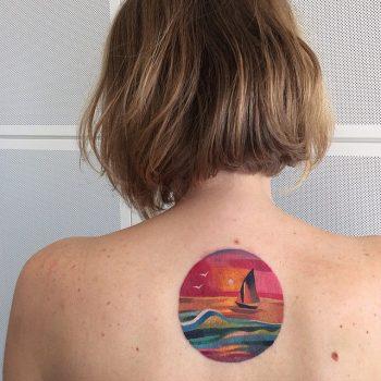 Circular sea landscape tattoo