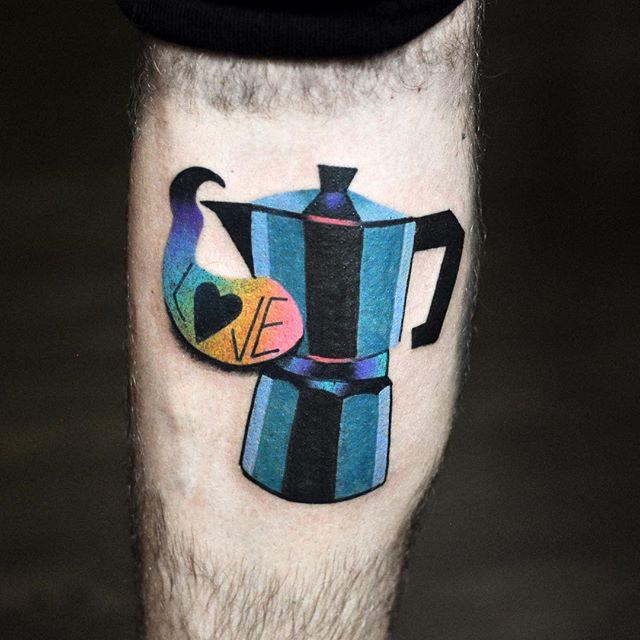 Colorful moka pot coffee pot tattoo