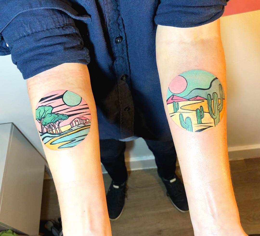 Colorful circular landscape tattoos