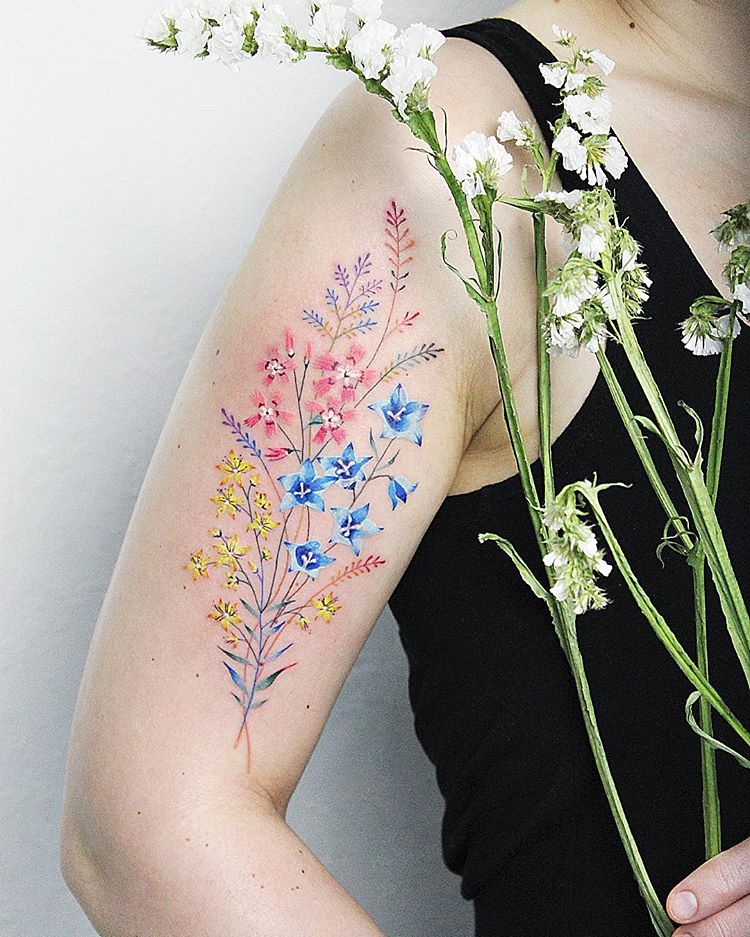 Colorful floral piece on the right arm