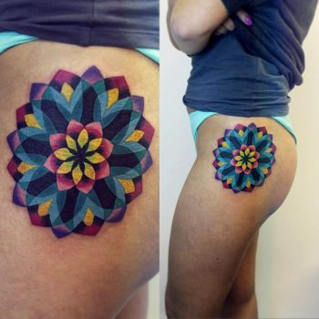 Colorful mandala on the hip