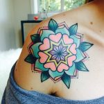 Colorful mandala tattoo on the shoulder