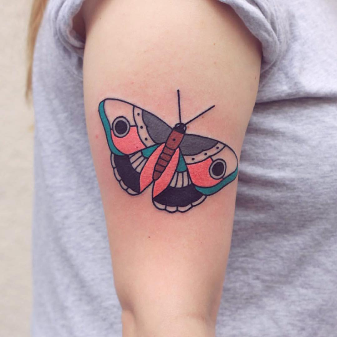 Colorful simple butterfly tattoo