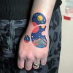 Cosmic landscape circles tattoo