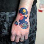 Cosmic landscape circles tattoo