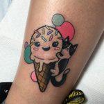 Cute ice cream cone and cat tattoo