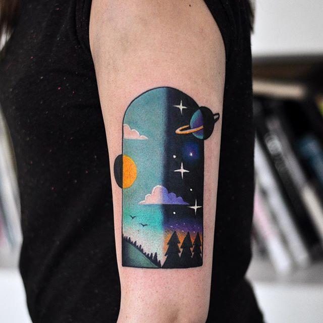Day and night sky tattoo