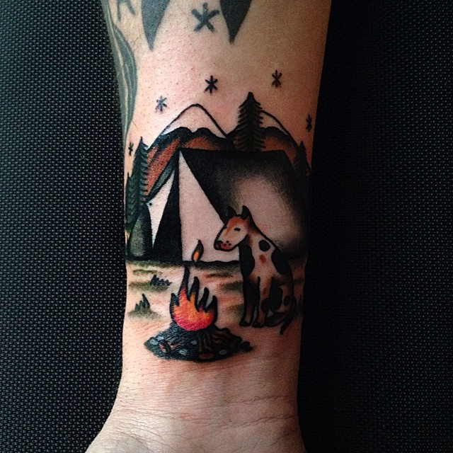 Dog by the campfire tattoo