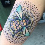 Dotted bee tattoo
