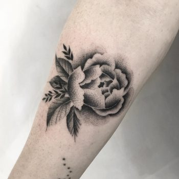 Dotwork black flower tattoo