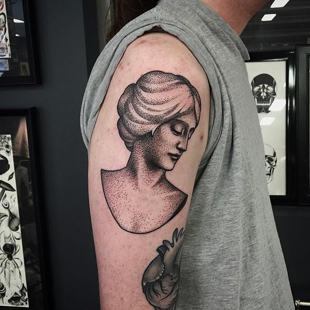 Dotwork female head bust tattoo