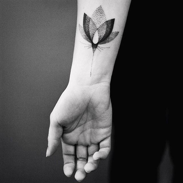 Dotwork lotus flower tattoo