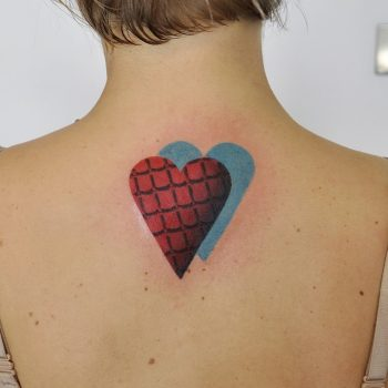 Double heart tattoo with a 3d pattern