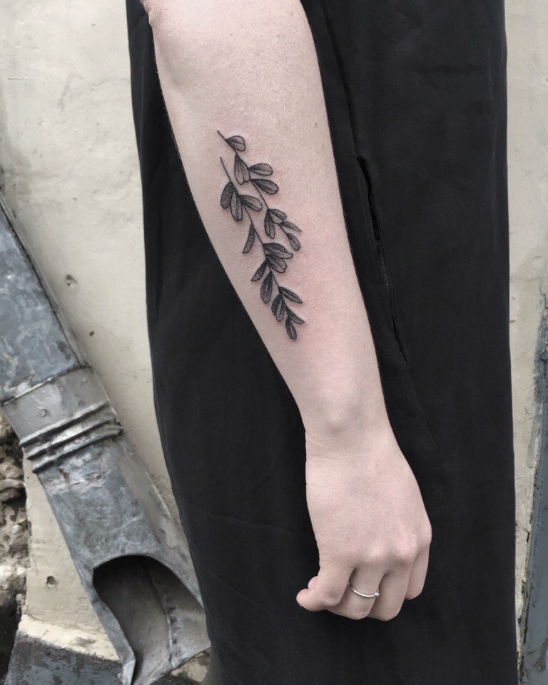 Double twig with leaves tattoo
