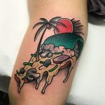 Exotic slice of pizza tattoo