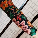 Fantastic full sleeve floral tattoo