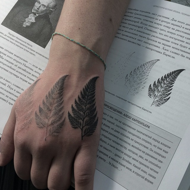 Fern leaves tattoo on the hand