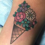 Flower ice cream cone tattoo