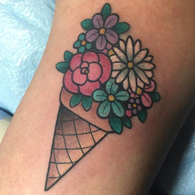 Flower ice cream cone tattoo