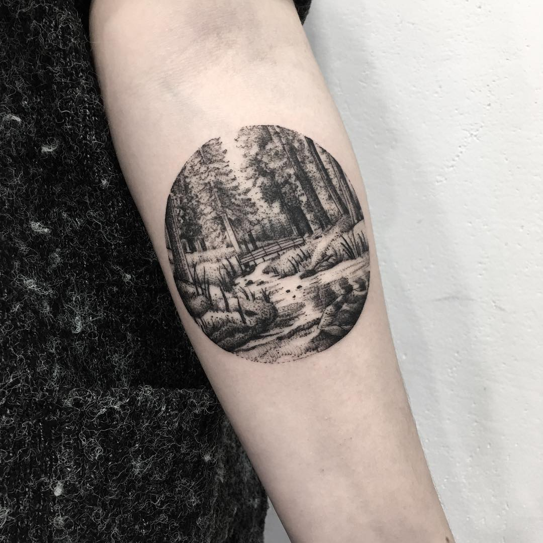 Forest scenery tattoo